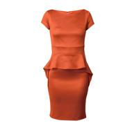 New 2014 Top Quality Women's Vintage Orange Work One-piece Dress for Women Ruffles Ladies Elegant  Women Summer Dresses