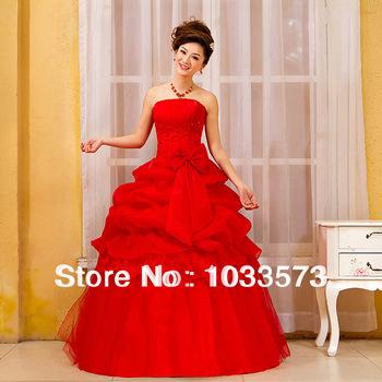 W- 7 Невеста Свадебные платья Красивые Красный 4 Размер рукавов Элегантный Сладкая принцесса завернутый груди Свадебные платья бальные