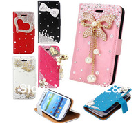 New Luxury Exclusive Debut Pretty Flower Bling Magnetic Flip Style Leather Wallet Hard Case Cover For Samsung I9500 Galaxy S4