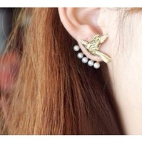 Punk Style  Pearl Jacket Flying Bird Animal Ear Cuff Earrings Multiusage for women 2014 unique design jewelry gold promotion