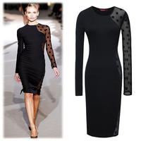 New 2014 Plus Size Long Sleeve Gauze Black Dot Summer Desses for Women Wholesale Price Women's Party Work Dress