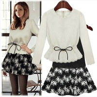 Free shipping 2014 spring new fashion women's one-piece dress long-sleeve slim fit loose basic dress twinset casual dresses