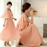 5 Colors New 2014 Spring summer fashion bohemian beach long dresses women elegant pleated big pendulum maxi chiffon dress