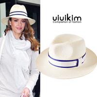 Fashion star fashion big wide-brimmed fedoras spring and summer fashion hepburn sun-shading female hat straw braid sun sunbonnet