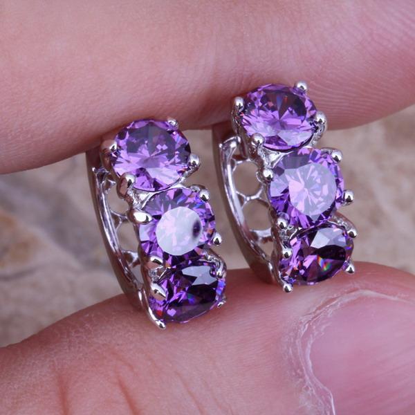 Unusual Purple Amethyst 925 Sterling Silver Huggie Hoop Earrings For Women Free Shipping & Jewelry Bag S0190(China (Mainland))