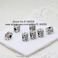 (30 pieces/lot) Antique Silver Alloy 8*8*11mm 3D Double-sided Big Hole Lovely Owl Beads Charms Findings For Pandora Charms 7222