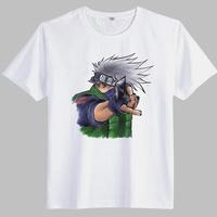 2014 Summer Japanese Anime Naruto Cartoon T Shirt Men Funny Lovely Hatake Kakashi Uzunmaki Printed T-Shirt Plus Size