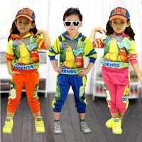 Set 2014 spring male female child sweatshirt cartoon sports casual clothing 100% cotton twinset