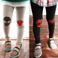 2014 spring and autumn love girls clothing skull child long trousers legging kz-1355