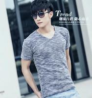 2014 summer new arrival V neck t-shirt short sleeve shirts fashion slim fit korean style shirt cheap casual men shirt for men