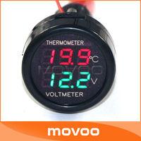 2in1 Digital Voltmeter Thermometer 12V/24V Dual Red+Green Car Digital Temperature Meter Voltage Meter for SUV/Taxi/Bus/Trucks