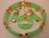 Beautiful Light green jade 18K GP Blessing Lucky Necklace Bracelet earring Set