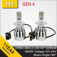 Free Shipping 2014 NEW GEN 4 CREE LED Headlight Conversion Car Kit H4 3000LM 12V 24V Aluminum Alloy IP68 6500K 180 Degree