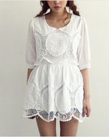 white summer dress new 2014 spring and summer sweet fashion puff sleeve lace crochet embroidery decoration one-piece dress