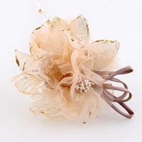 Brief gold big flower gentlewomen ol silk yarn hair accessory hat flower corsage brooch