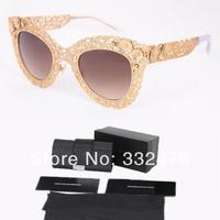 2014 fashion glasses metal hollow flower sunglasses women brand designer vintage luxury sun glasses oculos black original box