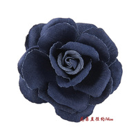 Masquerade party fashion denim flower corsage brooch flower side-knotted clip hair accessory