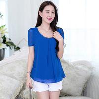 Women Blouse New 2014 Spring Summer Fashion Korean O-Neck Blouse Plus Size Short Sleeve Chiffon Blouses Shirt TopsXXXXL