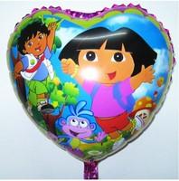 Hot sales ! Free shipping 100pcs/lots wholesale 18 inch foil balloons , heart-shaped helium balloon , Dora girl