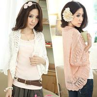 New Korean Spring Summer Hollow Thin Cardigan Sweater Coat Loose Bat Sleeve Sun Shirt Blouse Small Shawl Tops For Women
