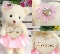 free shipping 12pcs/lot 12CM silk mini joint diamond & dress teddy bear Plush stuffed doll toy bouquet material/wedding gift