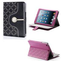 Buckle Plaid Rhinestone Frame Leather Case for iPad Mini iPad Mini2 Foldable Stand Cover Case for iPad Mini Mini2 Free Shipping
