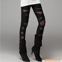 New 2014 Fashion Rock style women Legging Gauze straps meat legging Sports leggings Punk rave Black leggings BB-26