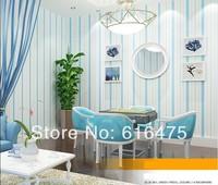 "Mediterranean-style Simple blue/Pink striped Lving/bedroom wallpaper Roll (0.53m(20.8"")*10m(32.8')=5.3m2)"