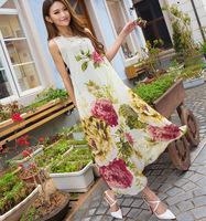 New 2014 Summer fashion bohemian beach long dresses sleeveless women elegant big flower print dress maxi chiffon dress