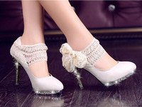 2014  women's lace flower white wedding shoes bridesmaid sparkling high heels platform stiletto shoes