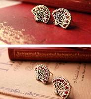 E-005 fashion cute 12pcs.lot wholesale price The fan crystal  stud  ruby earrings for girls