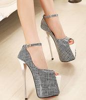 19cm!New biack white platform open toe high heels women pumps sandals thin heel ankle strap lady shoes woman summer 35-40 SN-122