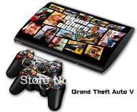 vinyl decal Skin Sticker for PS3 super  slim for PS3 Slim 4000 and 2 controller skins-033  GTA