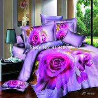 purple rose home textile Queen size bedding set 3d vivid floral print Comforter/quilt/Duvet cover bedsheets pillowcase bed sets
