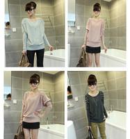 New 2014 mesh pearl o-neck long-sleeve Women sweater  wholesale sweater dress