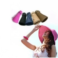 2014 free shipping fashion straw summer /spring/ autumn women's crownless sun hats large cap beach bow hats for women