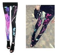 Rock style women Jazz hip hop Dance splash-ink female legging Punk rock Fashion Sport leggings Women leggings
