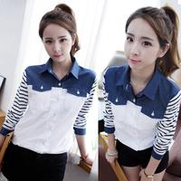 Free shipping 2014 young girl spring shirt honey vintage shirt white long-sleeve slim shirt