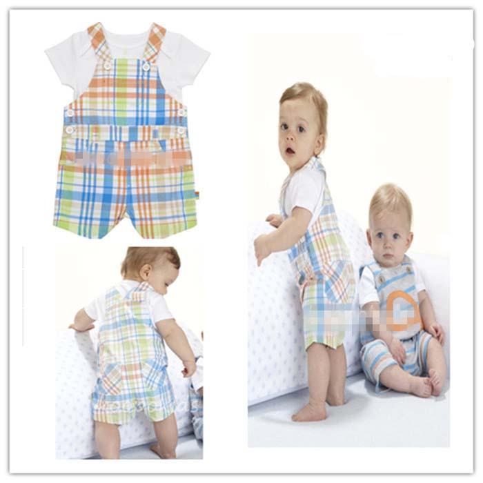 2014 neue baby jungen mädchen kleidung gesetzt kinder baumwolle anzug kinder niedlich kurzärmelige t- shirt + overalls 2 stück anzug versandkostenfrei