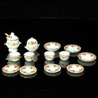 free shipping- Doll house model ceramic orange small flower vine dinnerware set