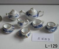 free shipping- Dollhouse doll house model blue small laciness tea set