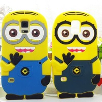 1pcs Free ship! For Samsung Galaxy S5 3D Cute Despicable Me Minion Soft Rubber Silicone Cases Back Cover For Samsung i9600 Case