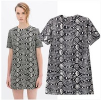 2014 Fashion Brand Design Cool Snake Skin Print Pattern Short Sleeve One piece Dress Dresses SML