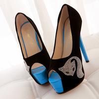 2014 New Fox rhinestone pumps Peep toe High Heels Women Pumps girls Shoes Sexy Ladies' Party thin Heels high quality SN-129