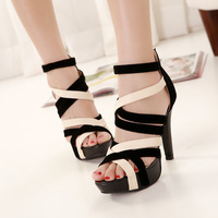 New 2014 Summer Free shipping women rome fashion pumps Open Toe sandals high heel cut outs buckle leather sandals shoes SN-130