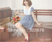 2013 New Free Shipping Sweet Short Sleeve Splicing Stripe Lace Rhinestone Square Collar Dress Blue&White JZ12091414