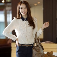 8121 2014 shirt long-sleeve chiffon long-sleeve shirt lace long-sleeve basic shirt