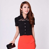 9925 OL outfit short sleeve length chiffon shirt black plus size women's lace shirt