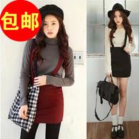 2014spring and summer solid color ol elegant all-match braces skirt bag skirt slim hip skirt medium skirt bust skirt