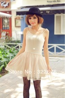 2013 New Free Shipping Vogue Sweet Braces Grenadine Vest Bottoming Dress Beige TQ12091401-1